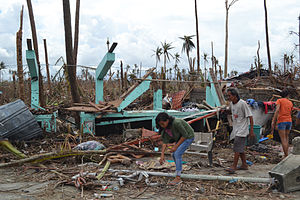 Typhoon Haiyan - The remains of a home destroyed by the storm in Tacloban City.