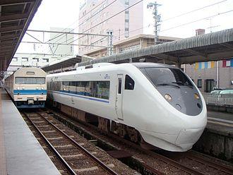 Hokuriku Main Line - A Thunderbird limited express at Takefu Station