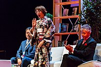 Takeshi Ikeda, Mari Kotani and Taiyo Fujii at the Hugo Awards Ceremony, Worldcon, Helsinki.jpg