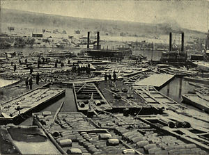 Oil City, Pennsylvania - Fleet of Oil Boats at Oil City, 1864.