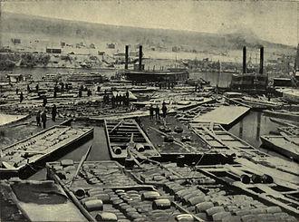 Oil City, Pennsylvania - Fleet of Oil Boats at Oil City, 1864.