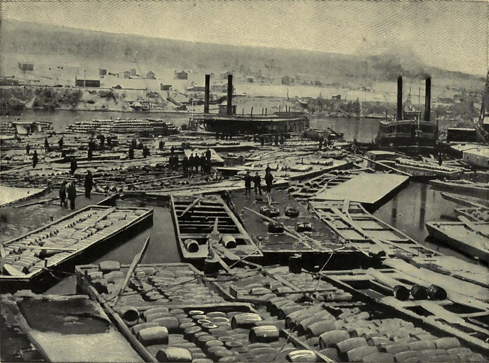 Tarbell 1904 Fleet of Oil Boats at Oil City 1864