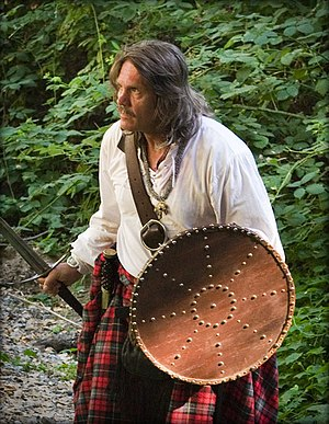 Targe - Scottish reenactor with a targe.