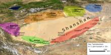 Oznaczona kolorami mapa fizyczna Basenu Tarim
