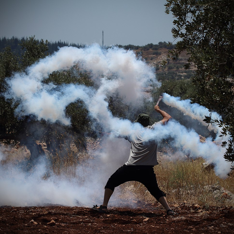 Tear gas grenade returned to soldiers using sling