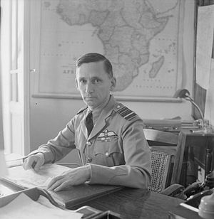 Arthur Tedder, 1st Baron Tedder - Tedder sitting at his desk at Air House, his official residence in Cairo, while serving as Air Officer Commanding-in-Chief, Middle East Forces.