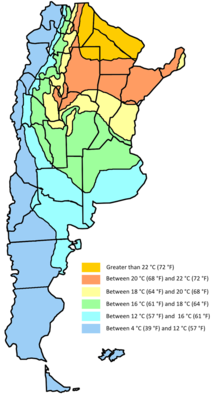 Map showing mean temperatures in Argentina. Mean annual temperatures range from more than 22 °C (71.6 °F) in the center north to between 4 °C (39.2 °F) in the south and extreme western parts of the country. Temperatures generally decrease southwards and westwards owing to a higher latitude and altitude.