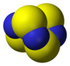 Space-filling model of tetrasulfur tetranitride