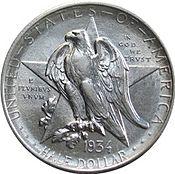 Texas centennial half dollar commemorative obverse
