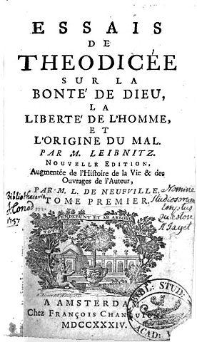 Титульный лист работы Лейбница «Опыты теодицеи», версия 1734 года