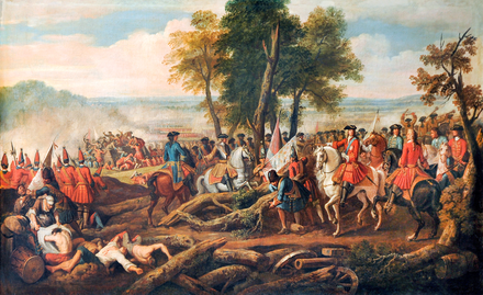 Malplaquet 1709: ostensibly an Allied victory, the losses shocked Europe and increased the desire for peace. The Battle of Malplaquet, 1709.png