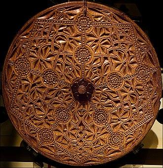 Mazer (drinking vessel) - The Bute Mazer's whale bone cover, c 1500