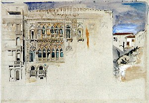 Ca' d'Oro - The Casa d'Oro. Pencil and watercolour by John Ruskin. (1845)