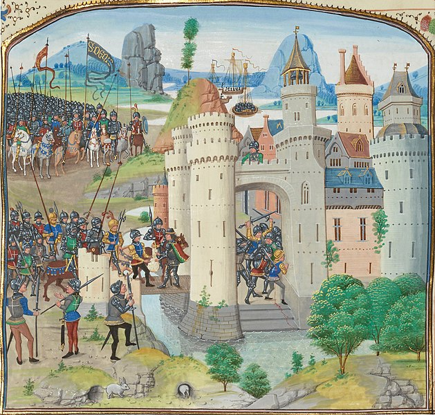 A piece of art showing the French attempt to recapture Calais from England on 1/2 January 1350 in the Chronicle of Jean Froissart. Note the man on the drawbridgewearing the green and red capewith gold trimmingreceiving a sack of money.Heisone of the central characters in this story.(source: Wikicommons)