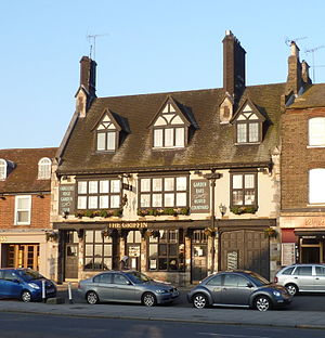 Whetstone, London - Griffin pub with the Whetstone visible in the foreground.