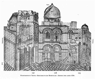 Immovable Ladder - Engraving of the Church of the Holy Sepulchre (1728)