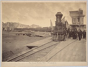 Funeral train - Abraham Lincoln's funeral train in Philadelphia, Pennsylvania, in 1865
