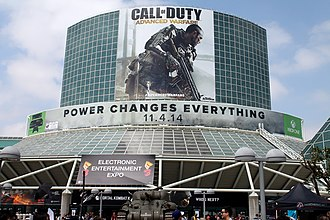 Electronic Entertainment Expo 2014 - The Los Angeles Convention Center during E3 2014, with Call of Duty: Advanced Warfare occupying entrance advertising.