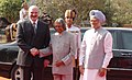 The President of the Republic of Belarus, Mr. Aleksandr Lukashenko with the President, Dr. A.P.J. Abdul Kalam and the Prime Minister, Dr. Manmohan Singh, at a ceremonial reception, in New Delhi on April 16, 2007.jpg