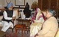 The Prime Minister, Dr. Manmohan Singh and his wife, Smt. Gursharan Kaur greeting the President, Smt. Pratibha Devisingh Patil on her 73rd birth anniversary, in New Delhi on December 19, 2007.jpg