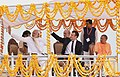 The Prime Minister, Shri Narendra Modi and the President of the French Republic, Mr. Emmanuel Macron take a boat ride on the Ganga River, in Varanasi, Uttar Pradesh.jpg