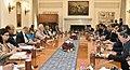 The Prime Minister, Shri Narendra Modi and the Prime Minister of the Kingdom of Cambodia, Mr. Samdech Akka Moha Sena Padei Techo Hun Sen, at the delegation level talks, at Hyderabad House, in New Delhi on January 27, 2018.jpg
