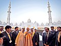 The Prime Minister, Shri Narendra Modi taking selfie with H.E. Sheikh Nahyan bin Mubarak Al Nahyan and H.E. Dr. Anwar Gargash at the Shiekh Zayed Grand Mosque, at Abu Dhabi, UAE on August 16, 2015.jpg