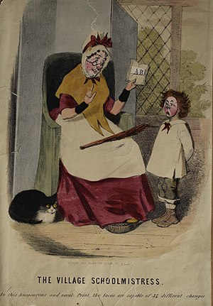 Schoolmaster - A toy lithograph depicting a stereotypical mid-nineteenth century village schoolmistress