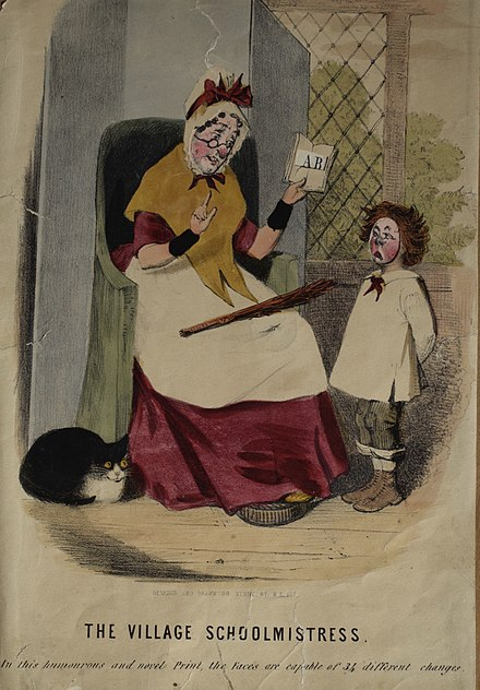 A toy lithograph depicting a stereotypical mid-nineteenth century village schoolmistress