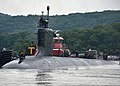 The attack submarine USS Virginia (SSN 774) departs Naval Submarine Base New London, Conn., Aug. 13, 2013, for a regularly scheduled deployment 130813-N-TN558-029.jpg