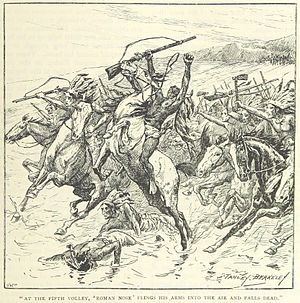 Battle of Beecher Island - Roman nose is shot (from an 1895 book)