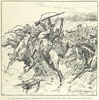 Battle of Beecher Island - Roman nose is shot (from an 1895 book)