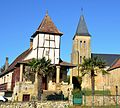 """The hamlet Nabirat with its church and the famous house with the """"Pigeonnery"""" (pigeons home in the tower) - panoramio.jpg"""