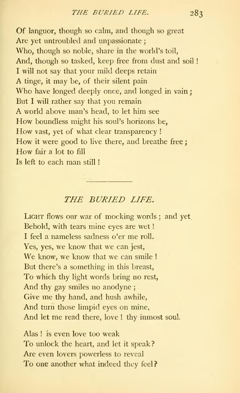 the buried life matthew arnold