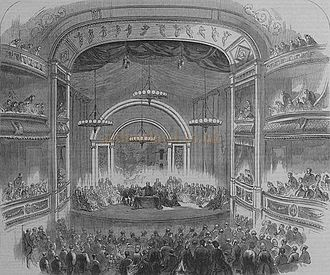Theatre Royal, Bath - The auditorium of the Theatre Royal in 1864 during a meeting of the British Association. First published in the Illustrated London News