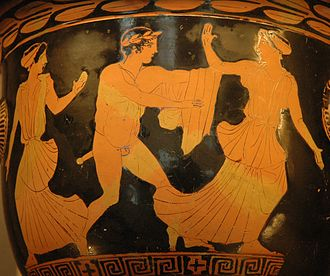 Helen of Troy - Theseus pursuing a woman, probably Helen. Side A from an Attic red-figure bell-krater, c. 440–430 BC (Louvre, Paris).