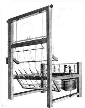 Thomas Highs - A drawing of Thomas Highs' spinning jenny, taken from Edward Baines's History of the Cotton Manufacture in Great Britain