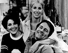 DeWitt with John Ritter (center) and Suzanne Somers in the promotional photo of the series premiere of Three's Company, 1977.