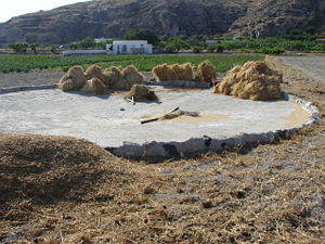 Threshing - Image: Threshing place, Santorini, Greece