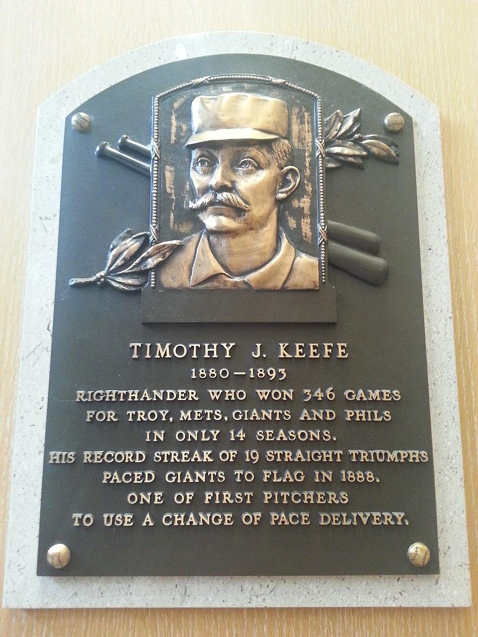 Tim Keefe plaque