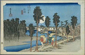 Numazu-juku - Numazu-juku in the 1830s, as depicted by Hiroshige in the Hoeido edition of The Fifty-three Stations of the Tōkaidō (1831-1834)