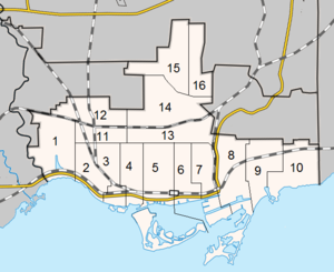 Toronto municipal election, 1991 - Ward boundaries used in the 1991 election
