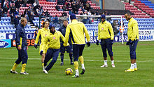Tottenham warmup, Wigan Athletic v Tottenham Hotspur, 21st February 2010.jpg