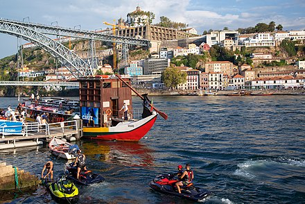 Tourists on the river Tourists enjoy the riverside (Ribeira) in Porto.jpg