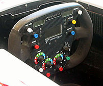 Photograph of a Toyota Formula One car's steer...