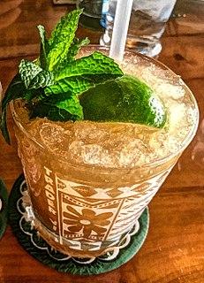 Mai Tai cocktail based on rum, Curaçao liqueur and lime juice