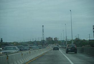 Trenton–Morrisville Toll Bridge - Northbound across the bridge