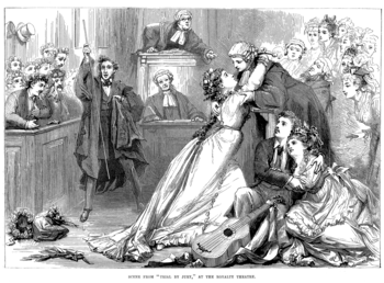 Contemporary steel engraving illustrating the operetta. In the court, the defendant, with his guitar, clings to his new love. The jilted bride throws herself into the arms of the counsel while the judge gestures his displeasure and the usher tries in vain to control the ensuing disorder among the jury and spectators.
