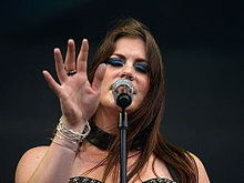 Floor Jansen singing onstage