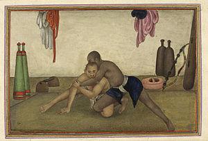 Pehlwani - Illustration of two wrestlers (1825)